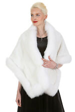 Natural Real White Mink and White Fox Fur Stole Cape – Plus Size – The Lana
