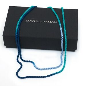 "New DAVID YURMAN Bel Aire Ombre Chain 34"" Box Necklace in Blues 14K Gold Accents"