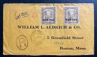1918 Nassau Bahamas Commercial Cover To Boston MA USA War Tax Overprint