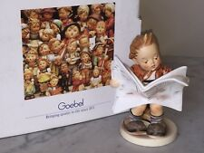 "1984 Goebel Hummel Porcelain Figurine, Young Boy Reading Newspaper ""Latest News"""