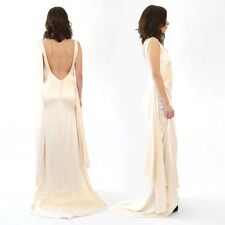 Vintage 90s 30s silky satin cream Wedding dress Art deco party dress S