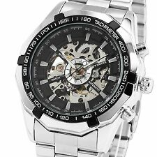 ESS Men's Black Bezel Skeleton Dial Stainless Steel Self-Wind Up Mechanical Auto