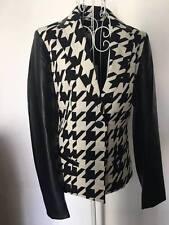 PENNY BLACK by MAXMARA BLUTTE houndstooth Leather Sleeve jacket I38/F34/UK6/US2