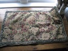 1~VICTORIAN FLORAL THICK LINEN WITH GOLD CORDING STANDARD PILLOW SHAM #69