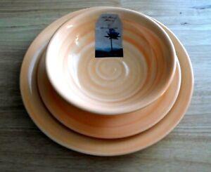 Artisan De Luxe Peach Swirl Melamine Dinnerware Plates Bowls 12 pc set Complete
