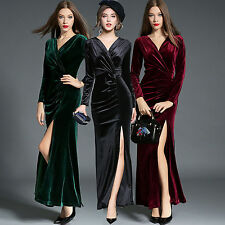 Women Retro Sexy VNeck Formal Long Sleeve Evening Party Cocktail Prom Maxi Dress