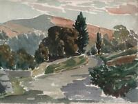 GEORGE GRAINGER SMITH Small Watercolour Painting ROAD & MOUNTAIN LANDSCAPE c1920