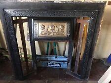 Late Victorian / Edwardian Art Noveau Cast Iron And Brass Fireplace Insert