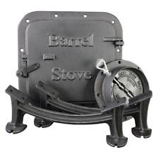 Barrel Camp Stove Kit Door Flue Collar Spacer Leg Rustic Cast Iron Lightweight