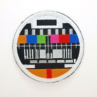 TV Retro Fuzz Patch - Iron On Badge Embroidered Motif - Test Signal Colour #293