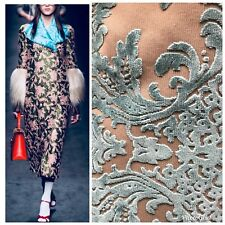 Designer Burnout Velvet Damask Upholstery Fabric - Antique Teal- By The Yard
