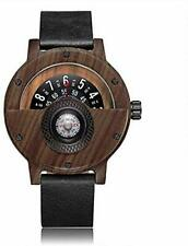 Unique Compass Men's Wooden Quartz Watch with Turntable Number Design Leather Ba
