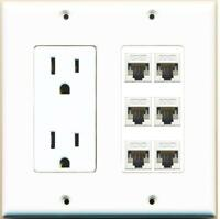 15 Amp Round Power Outlet 6 Port HDMI A//V Wall Plate Hide Cables Wires