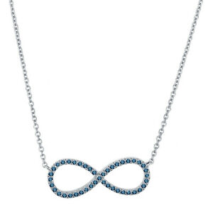 0.17ct. Blue Diamond Infinity Pendant Necklace With Chain