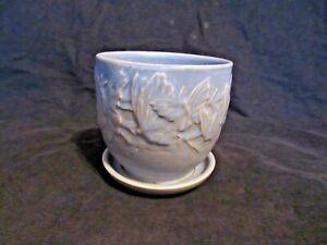 Vintage McCoy Art Pottery Blue Glaze Butterfly Line Flower Pot with Tray