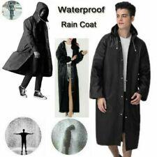 Mens Womens Long Hooded Waterproof Jacket Rain Coat Button Raincoat Rainwear UK
