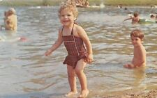 Bristol Indiana~Eby's Pines Restaurant~Toddler Bathing Beauty~Cute Suit~1950s PC