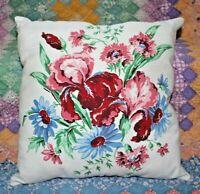 Throw Pillow From St. Regis Irises Daisies Farmhouse Mid Century Tablecloth
