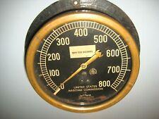 Jas.P.Marsh Brass Main Feed Discharge Gauge United States Maritime Comm. Navay?