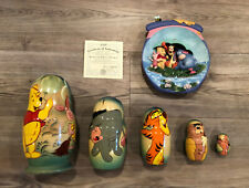 Vintage Hand Painted Winnie the Pooh Nesting Doll & Disney Limited Edition Plate
