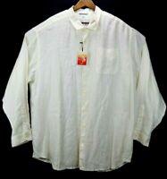 New Tommy Bahama Sea Glass Breezer L/S 100% Linen Shirt Mens 2XB White $118.00