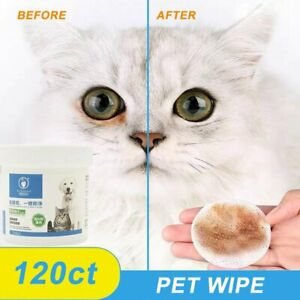 120x Pet Round White Wipes Dogs Cats Safely Gently Tears Stains Aloe Extract FW