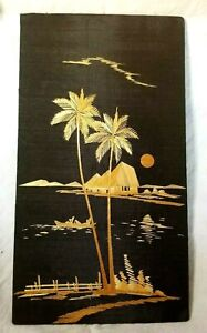 Needlepoint Decorative Pictures Vintage Black & Gold Handmade In India Unframed