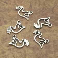 40pcs Tibetan silver charm peace dove pendant bird Jewelry Findings 13mm A3194