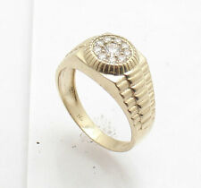 Style Ring Real Solid 10K Yellow Gold Size 10 Men's Pave Set Clear Cz Rlx