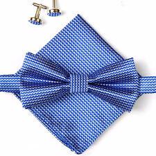 (A2) Nuevo Conjunto De Hombre Azul Corbata de Moño Bowtie Gemelos Pañuelo Corbata Seda Raso Hombres Set