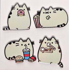 PUSHEEN the Cat Eating Food/Snacks 4-Pack Lapel Pins/Backpack Charms >NEW<