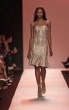 "$6,990 NWT Authentic Herve Leger Runway ""Sabra"" XS Rose Blush Metal Lace Dress"