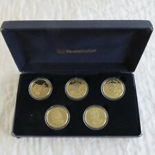 EAST CARIBBEAN STATES 2002 MONARCHS 5 COIN GOLD PLATED PROOF SET - boxed