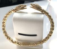 Vintage 60s 70s Kenneth Lane For Saks Rhinestone Snake Head Clamper Bracelet B3