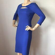 NEW ESCADA WOMENS BLUE CURACAO KNIT DRESS SIZE 8 VISCOSE SPANDEX