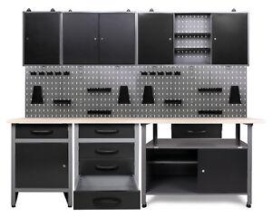 Ondis24 Werkstatt Set 240cm 3x Werkbank Metall 3x Werkzeugschrank Lochwand Haken