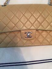 Authentic CHANEL Classic Lambskin Beige Silver Hardware Flap Handbag
