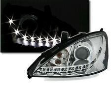 Scheinwerfer für Ford Focus 1 98-04 mit LED Tagfahrlicht Look Klarglas Chrom Set