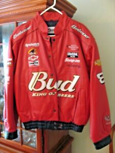 Vintage Bud Budweiser Nascar Dale Earnhardt Jr Embroidered Red Leather Jacket M