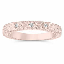0.05 Carat Diamond Wedding Ring 14K Rose Gold Vintage Antique Style Engraved