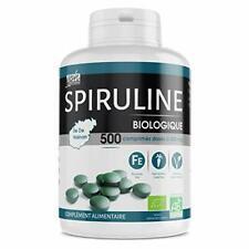 Spiruline Bio 500 comprimés  Protéines Phycocyanine Chlorophylle Caroténoïde Fer