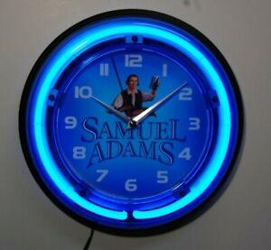 Samuel Adams beer logo neon wall clock