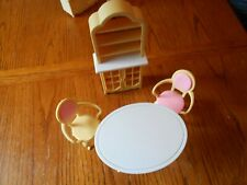 1996 Barbie Dining Room Hutch Cabinet & Dining Table-for Folding Pretty House