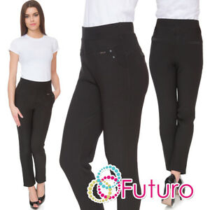 Women Elegant Full Length Black High Waist Casual Plain Pants Plus Size DN17012