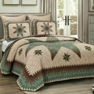 DONNA SHARP SEA BREEZE STAR PATCHWORK LOOK TRADITIONAL QUILT Queen Size Set