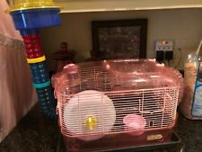 Critter Trail Hamster Cage,Pink,W/Tube, Food, Water, Exercise Wheel, Straw Incl.