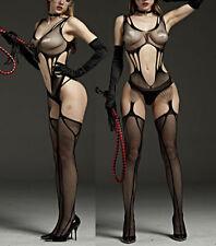 Erotic Babydoll Fishnet Lingerie Underwear BODYSTOCKING SUSPENDER Ladies Catsuit