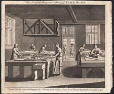 1748 Rare gravure Verrerie verre polissage verrier Universal magazine métier