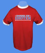 Männer Herren T-Shirt rot weiß Umgeben von Idioten L XL Bündchen zweifarbig