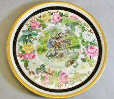 """Fine 13"""" French Old Paris Hand-Painted Dog & Donkey Platter c.1850 antique plate"""